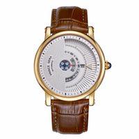 мужские кожаные часы тонкие оптовых-PRINCE GERA Men's Unique Dial Genuine Leather Automatical Mechanic Watch Rose Gold Ultra Thin Waterproof Watch Calfskin Bands