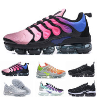 Wholesale colorful womens shoes - 2018 Vapormax TN Plus Olive Mens Womens Sports Running Shoes Women Sneakers Metallic White Silver Colorful Triple Black Shoe size 36-46