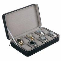 wrist watch gift box оптовых-6/10/12 слоты искусственная кожа ювелирные изделия часы Box case элегантный наручные часы подарок Box Case дисплей хранения организатор