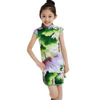 niña china vestidos de fiesta al por mayor-Vestido tradicional del estilo chino del estampado de flores de la vendimia Vestidos de las muchachas Cheongsam Wedding Party Costume ropa de los niños del verano 3-14Y