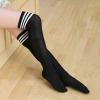 Wholesale sexy girl black socks - Fashion Women's Socks Sexy Stockings Warm Thigh High Over Knee Socks Long Cotton Striped Sock for Girls Ladies Outdoor Sports Cycling Gym