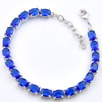 ingrosso bracciali blu topazio argento-LuckyShine Party Jewelry Unico regalo per la mamma Fire Blue Topaz Gemstone Crystal 925 Sterling Silver Bracelet Bangle Wedding Jewerly