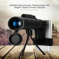 ingrosso treppiedi telescopici-40X60 HD Mini Day e Night Vision Telescopio monoculare con treppiedi Phone Clip portatile ottico monoculare campeggio esterno B