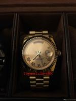 Wholesale Mens Golden Wrist Watches - 2018 AAA Luxury Brand New Golden Dezel Black Belt Mens Golden Stainless Pointer Watches Men's Sports Wrist Watchesverm