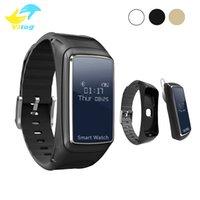браслет bluetooth часы для iphone оптовых-Для смартфонов iphone samsung B7 Умные часы Браслет 2 в 1 Bluetooth-гарнитура Наушники Монитор сердечного ритма