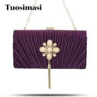 синяя свадебная сумка оптовых-Evening Bag Clutch Bags Clutches Lady Wedding Purse Unique Wedding Handbags Silver/Purple /Black /Beige /Navy Blue Evening Bag