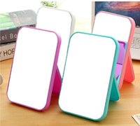 Wholesale compact girls - Desktop Foldable Makeup Mirror Rectangle Small Folding Stand Cosmetic Mirror Lady Girl Compact Portable Pocket Mirror DDA242