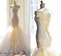 Wholesale up skirt photos - Real Image Mermaid Bridal Gowns Tulle Ruched Skirts Lace-up Backless Sweetheart Appliqued Long Wedding Dress Cheap