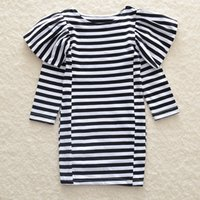 Wholesale Long White Straight Skirt - Infants girls flouncing striped long sleeve dress kids chick one-piece skirt white and black stripe clothing outfits for 1-5T