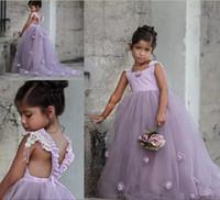 bebek kız el yapımı tutu elbisesi toptan satış-2019 Güzel Açık Mor Balo Düğün Çiçek Kız Elbise 3D Parti doğum günü için el yapımı Çiçek Kabarık Tutu skirtKids Bebek Yarışması Elbise