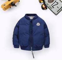 jeans bébé fille 12 mois achat en gros de-2018 enfants veste baseball manteau uniforme garçon fille hiver porter du coton rembourré manteau livraison gratuite