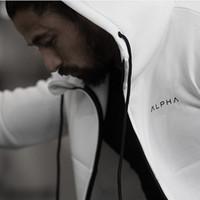 ingrosso giacche a maniche corte-All'ingrosso-2017 Autunno più nuovo Fitness Uomo Palestre Felpe Felpa Bodybuilding Hoody Zipper Casual Felpa da uomo Slim Fit giacca con cappuccio