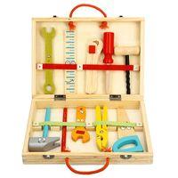 holzspielhäuser großhandel-Freies verschiffen Neue Holz Kinder DIY Puzzle cartoon simulation Multifunktions Holzbearbeitung Toolbox spielhaus demontage spielzeug