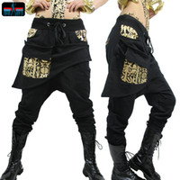 Wholesale Kids Hip Hop Dance Pants - Adult Kids Women sweatpants costume wear big crotch bronze pencil pants Mandarin Trousers Gold Silver Hip hop harem dance Pants