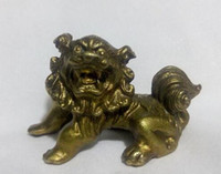 Wholesale Bronze Foo Dogs - free shipping 4 cm Chinese Bronze Carved Guardian Foo Fu Dog Phylactery Door Lion animal Sculpture