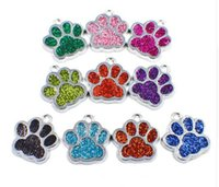 Wholesale bling bears - 20pcs lot Bling dog bear paw print footprints hang pendant charms fit for diy keychains key ring necklace fashion jewelrys