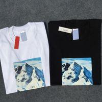 fotos nieve al por mayor-Marca 17FW Mountain Snow Photo camisetas Hip-Hop Skateboard O-cuello Classic Box Logo Manga corta Verano Algodón camiseta