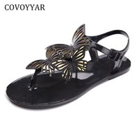 Wholesale black white butterfly fabric - COVOYYAR Sweet Butterfly Women's Sandals Ladies Jelly Shoes 2018 New Summer Flat Women Flip Flops Plus Size 40 WSS856