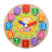 игровые будильники оптовых-Мультфильм животных развивающие деревянные игрушки будильник бусы головоломки дети цифровые деревянные часы дети ранние развивающие игрушки подарки