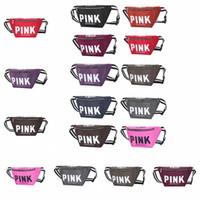 Wholesale kids crossbody handbags - Pink Fanny Pack Pink Letter Waist Belt Bag 10 Colors Love Pink Beach Bags Crossbody Handbags Outdoor Cosmetic Bag Kids Purses 50pcs OOA5237