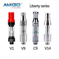 Wholesale Cartridge V9 - Itsuwa Amigo Liberty V9 V1 atomizer Top Airflow Adjustable Cartridges Thick Oil 0.5ml Ceramic Coil vs ccell th205 MT6 G5 G2 Cartridge 0266