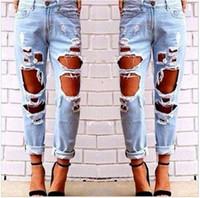 ingrosso fidanzate jeans grossi buchi-Jeans strappati jeans strappati distrutti Jeans bucati distrutti Jeans selvaggi sexy bucato Beggar Boyfriend Multi fori Hot