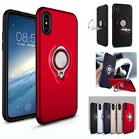 Wholesale Ring Cases - For iPhone 8 X 360 Ring Holder Magnetic Back Cover Hybrid Armor Defender Case For Sumsung Note8 S8 S7 Plus iPhone 7 6 6S Plus 5 5s SE