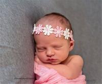 Wholesale garland flower headband - Newborn Baby Headbands Daisy Flowers Kids Elastic Head Bands Girls Hairbands Garlands Children Hair Accessories Princess Headdress KHA154