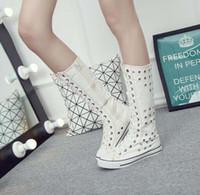 schnüren sich die kniestrümpfe großhandel-Freies verschiffen neue PUNK EMO GOTHIC Schuhe Mädchen Frauen Sneaker Zip Lace Up Canvas Stiefel Knee High