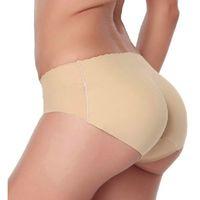 dikişsiz iç çamaşırı yastıklı külot toptan satış-Iç çamaşırı kadın Dikişsiz Seksi iç çamaşırı Underwears Külot Külot kalça pedleri pantalones mujer silikon kalça yastıklı külot # 1