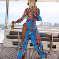 más el tamaño cubren traje de baño al por mayor-Summer Bikini Set Woman Swimsuit Lady Swimwear Femme Sexy Cover Up Chiffon Plus Size Flower Dress Long Beach 23 5zn V