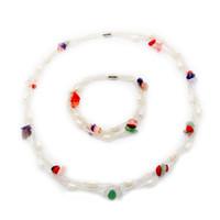 белое жемчужное бирюзовое ожерелье оптовых-Природные пресноводные жемчужные ювелирные изделия Комплект ожерелье и браслет 7-9 мм Эллиптический белый жемчуг + кристалл и бирюзовый набор ювелирных изделий