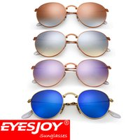 Wholesale Silver Mirror Metal Sunglasses - 2017 hot Sunglasses brands pilot mirror Folding Round Bronze metal Frame Men Women Brand Designer sunglasses with Box