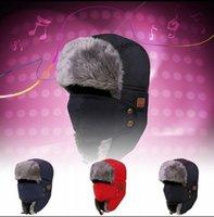 trappeurs achat en gros de-Bluetooth Trapper Hats 3 Couleurs Chaud Sans Fil Smart Cap Casque Musique Earflap Chapeau Casque Haut-Parleur En Plein Air Bonnets 100 pcs OOA5688