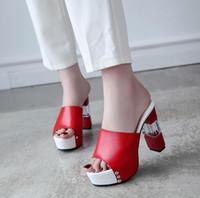 chinelos pretos sexy venda por atacado-Mulheres Sexy Mulas De Salto Alto Moles Tamancos Peep Toe Plataforma Preto Mulas Senhoras de Couro Sola Chinelos Femal Deslizamento Em Sandálias Sapatos