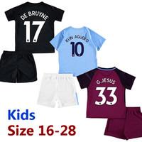 Wholesale Kids Walkers - Kids 17 18 third black soccer jerseys 2017 2018 De Bruyne KUN AGUERO children football shirt BERNARDO Camiseta MENDY WALKER maillot de foot