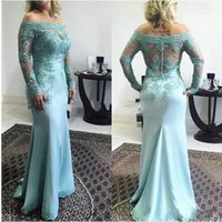Wholesale fabric light covers - 2018 Sexy Elegant Long Sleeves Mother Of The Bride Lace Fabric Appliques Floor Length Evening Dresses Gowns For Wedding Party Guest Dresses