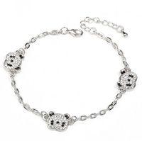 Wholesale panda bracelet resale online - Korea style lovly girl crystal bracelet shiny plating panda bracelets for women nice gift Valentine s Day free ship