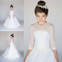 Wholesale simple flower girl dresses - Simple White Flower Girl Dresses Princess A Line White Sheer Half Sleeves Kids Birthday Communion Dress Cheap