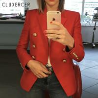 blazer feminino achat en gros de-Blazers dames 2018 New Fashion femmes blazers et vestes rouges à manches longues à double boutonnage bureau dame Blazer Suit Feminino