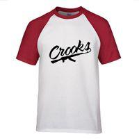 Wholesale Raglan Fashion Men Shirt - Summer Raglan Shoulder Men T Shirt Letter Crooks Printed Cotton Rocks Crew Neck T Shirt Hip Hop T-shirts Men Top