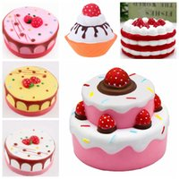 Wholesale Cell Phone Items - PU 6 styles Squishy cakes Slow Rising Soft Squeeze Cute Cell Phone Strap gift Stress children Decompression Toy Novelty Items GGA239 30pcs