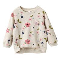 suéter del suéter del niño al por mayor-Niños Floral Jersey Suéter Cuello barco Manga larga Bebés Niñas Ropa de diseño Niño Primavera Verano Swing Hem Corto Frente Largo Atrás 3-7T
