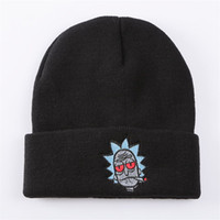 Wholesale wholesale fashion army hats online - Women And Men Beanie Hats Rick And Morty Cartoon Knitted Hat Embroidery Winter Keep Warm Edge Curl ma aa
