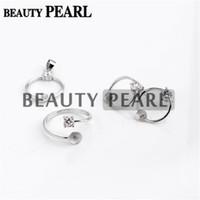 perlenringe zinken großhandel-Perle Halterungen Kreis 925 Sterling Silber Zirkon quadratische Krappenfassung Ring mit Ohrring mit Anhängerzubehör