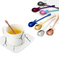 Wholesale music kitchen - 7colors Stainless Steel Coffee Spoon Music Theme Bar Party Supplies Guitar Coffee Dessert Tea Spoon Kitchen Accessories GGA298 60PCS