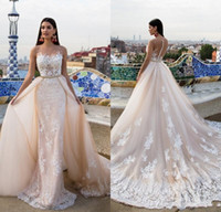 Wholesale wedding dress back button sash for sale - Group buy 2017 Designer Blush Detachable Wedding Dresses Sheer Crew Lace Appliques Hollow Button Back Bridal Gowns with Sweep Train Robe De Mariage