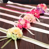 Wholesale artificial pearl flower online - High Grade Simulation Wrist Flower Wedding Celebration Bride Pearl Hand Flowers Bardian Artificial Fabric Art Decorative lh Y