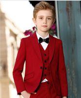 yeni model elbise erkekleri toptan satış-Boys Resmi yeni 2018 Çocuğun Resmi Giyim Elbise Giymek Pageboy Çiçek Boys Düğün Takımları Balo Communion Smokin