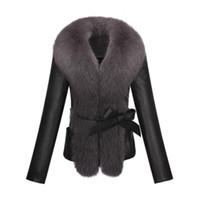 Wholesale Woman Sheep Coat - Wholesale- KERUISHU sheep PU leather fox fur collar slim long-sleeved short jacket jacket fur collar plush leather fur coat 3XL